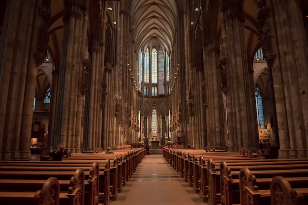 Church service held in the cathedral in cologne, germany. Premium Photo