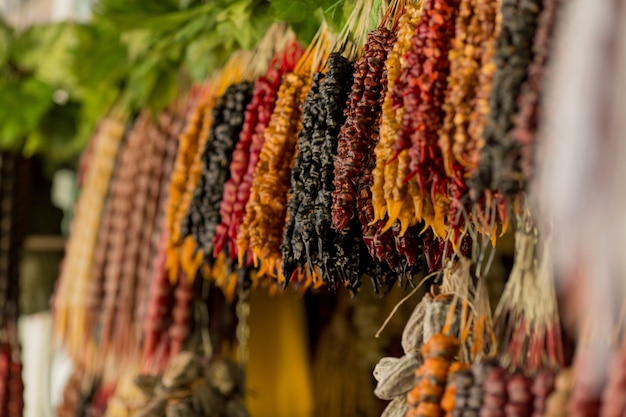 Churchkhela national oriental sweetness Premium Photo