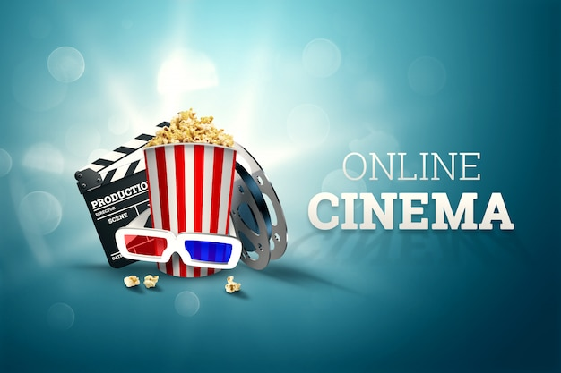 Cinema, cinema attributes, cinemas, films, online viewing, popcorn and glasses. Premium Photo