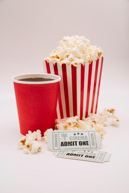 Cinema menu with a ticket Free Photo
