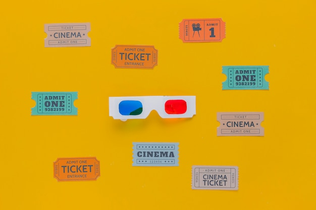 Cinema tickets and 3d glasses Free Photo