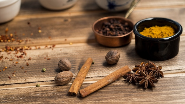Cinnamon and anise near spices Free Photo