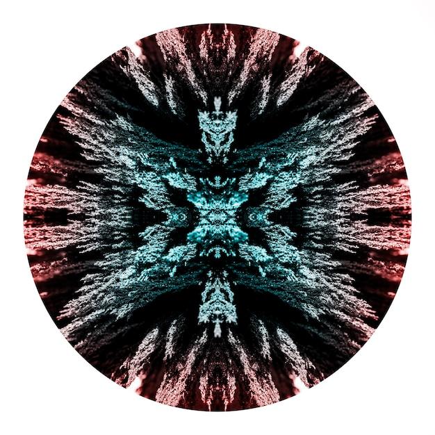 Circle of kaleidoscope magnetic metallic shaving design on white backdrop Free Photo