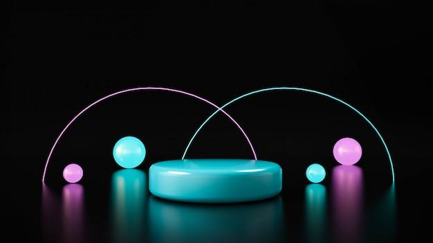 Круг этапа неоновый свет. абстрактный футуристический фон Premium Фотографии