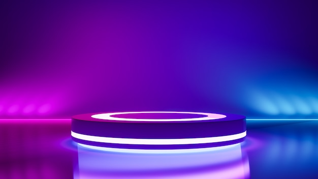 Circle Stage And Purple Neon Light Abstract Futuristic