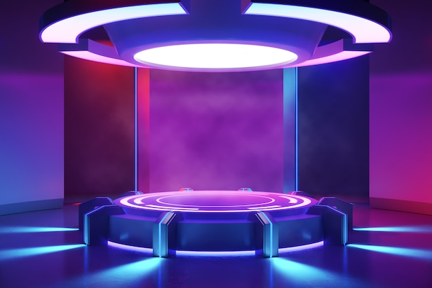 Circle stage with smoke and and purple neon light ,ultraviolet concept Premium Photo