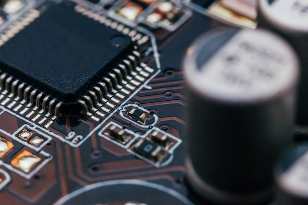 Circuit board repair. electronic hardware modern technology. motherboard digital personal computer chip. tech science wall. integrated communication processor. information engineering component Premium Photo