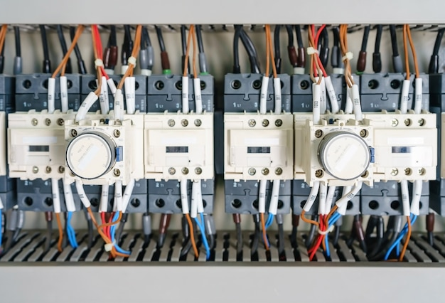 Circuit breaker and magnetic in a electrical switchboard Premium Photo