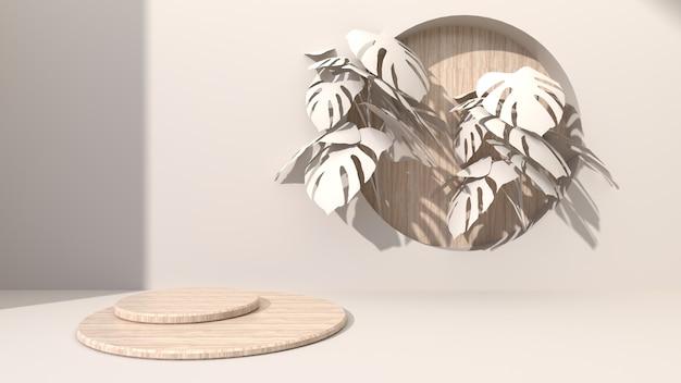 원형 형상 나무 큐브 크림 색 추상적 인 배경에 드릴 구멍 나무 라운드 퍼 팅. 몬스 테라 잎으로 장식하십시오. 화장품 선물용. 3d 렌더링 프리미엄 사진