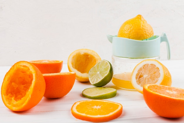 Citrus fruits on table Free Photo