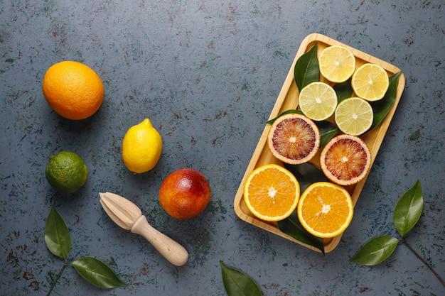 柑橘系の果物、トップビュー 無料写真