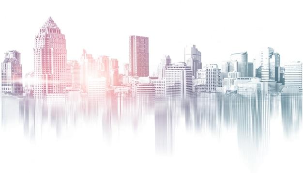 수도권의 도시 건물 스카이 라인 프리미엄 사진