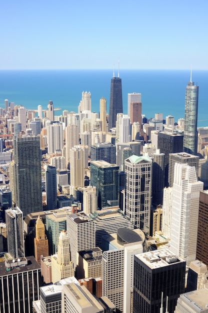 City of chicago. aerial view of chicago downtown Premium Photo