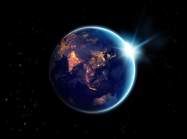 Городские огни ночью в планете земля, элементы этого изображения, представленные наса Premium Фотографии