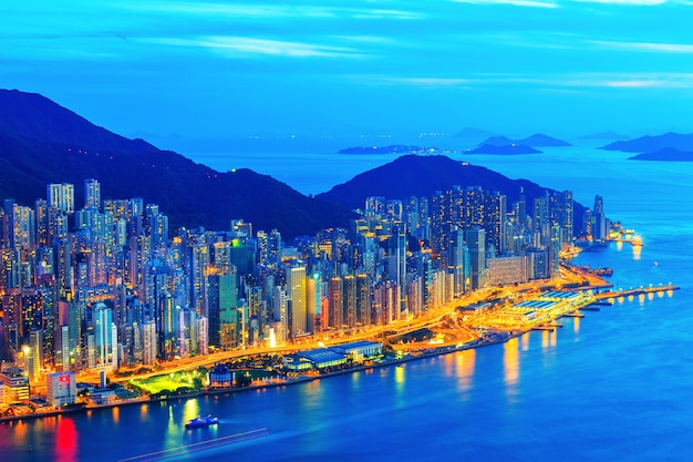 City night from the view point on top of mountain , hong kong,china Premium Photo