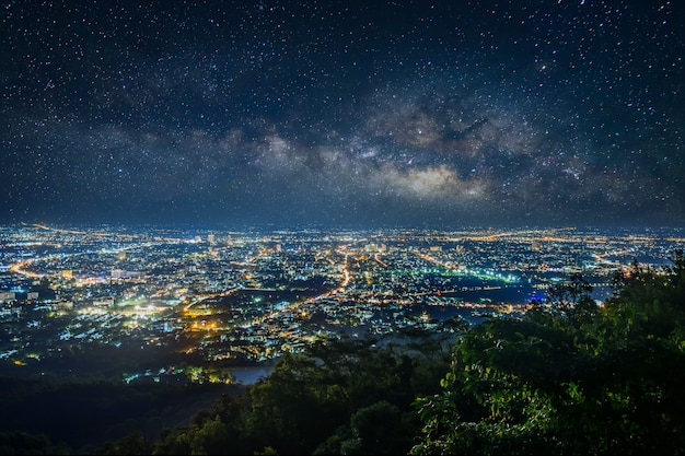City night landscape from the view point on top of mountain , chiangmai ,thailand Premium Photo