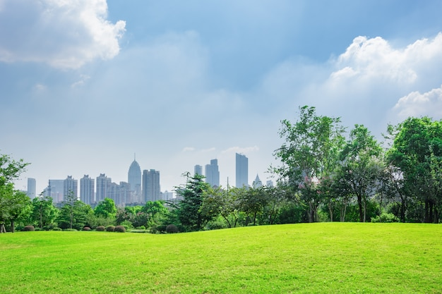 City park under blue sky with Downtown Skyline in the Background Free Photo