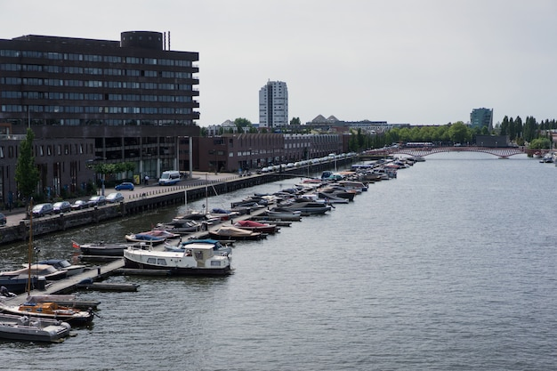 City port with yachts. amsterdam Free Photo