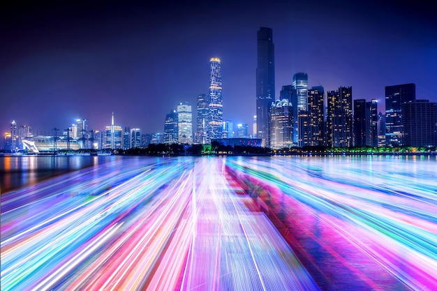 city skyline and light line on the river Free Photo