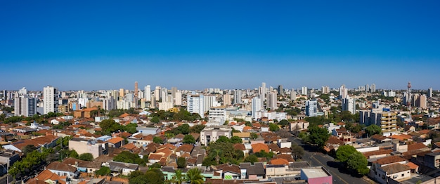 City of uberaba, minas gerais, brazil. panoramic aerial view of the central area. Premium Photo
