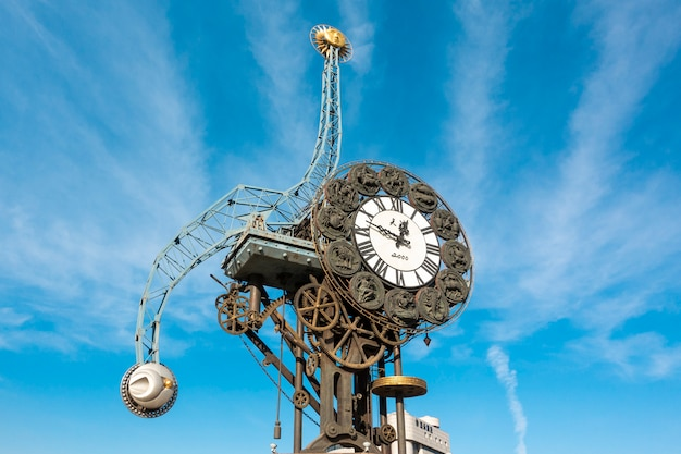 Cityscape of century clock  in tianjin Premium Photo