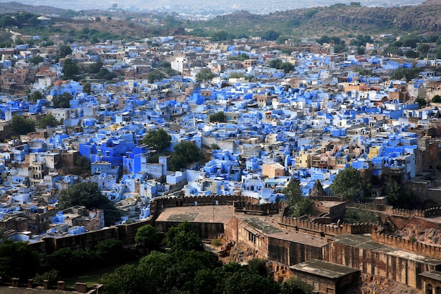 Cityscape during sunset of jodhpur the blue city in rajastan province, india Premium Photo