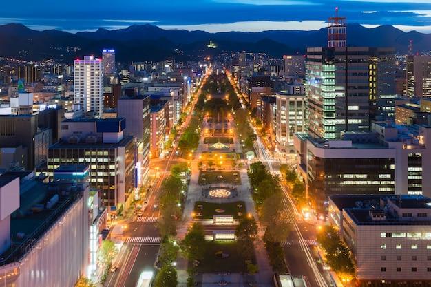 Cityscape of sapporo at odori park, hokkaido, japan. Premium Photo