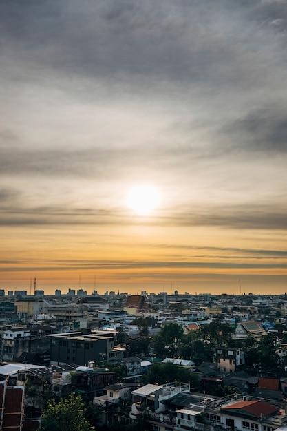 Cityscape in sunset and skyin bangkok thailand Free Photo