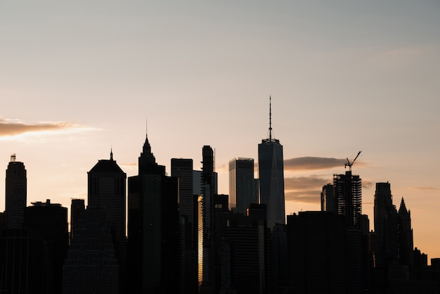 Cityscape with high-rise buildings at dusk Free Photo