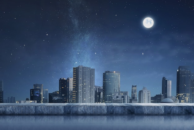 Cityscape with night scene and moonlight Premium Photo