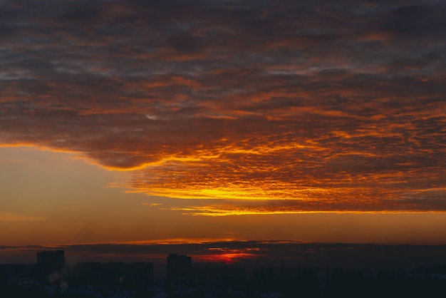 Cityscape with vivid fiery dawn Premium Photo
