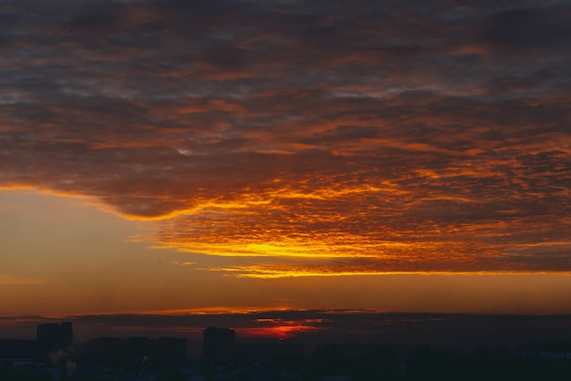 Cityscape with vivid fiery dawn. Premium Photo