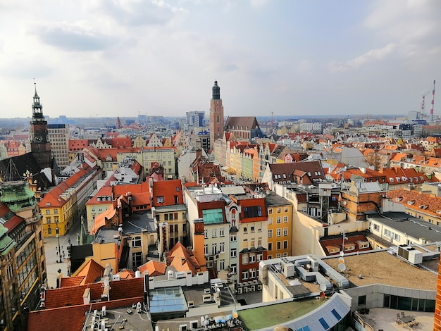 Cityscape of wroclaw under a cloudy sky in poland Free Photo