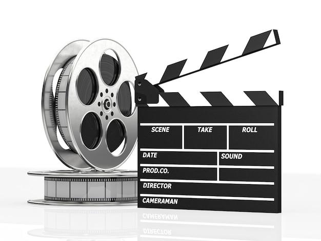 Clapboard and film roll Premium Photo