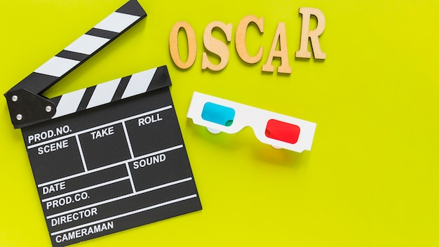 Clapboard near 3d glasses and inscription Free Photo