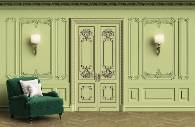 복사 공간이있는 클래식 인테리어의 클래식 안락 의자 프리미엄 사진