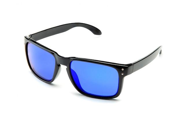 Classic black sunglasses with blue mirror lenses Premium Photo