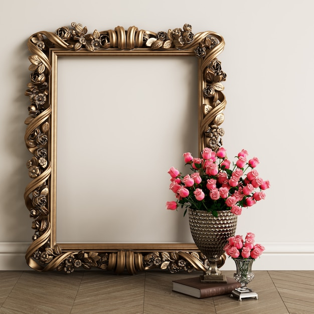 Classic carved mirror frame mockup with copy space Premium Photo