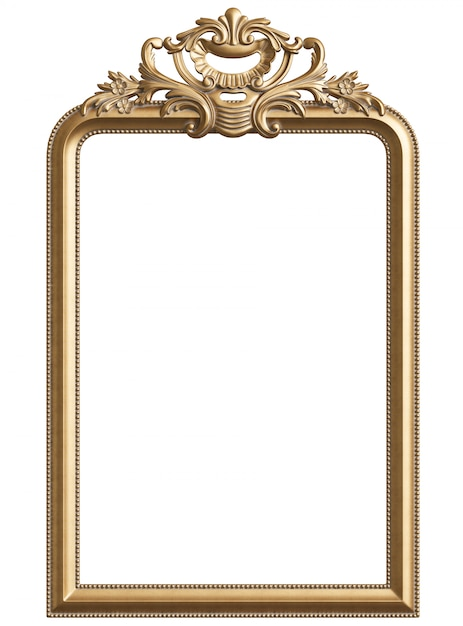 Classic golden frame with ornament decor for classic interior isolated Premium Photo