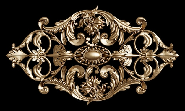 Classic golden frame with ornament decor isolated on black Premium Photo