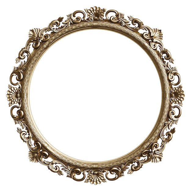 Classic golden frame with ornament decor isolated on white background Premium Photo