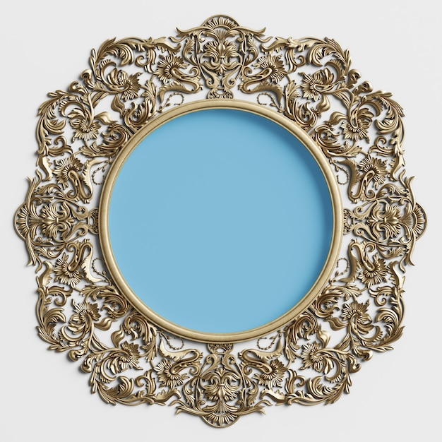 飾りの装飾と白い壁の中央に青い円の古典的なゴールデンラウンドフレーム Premium写真