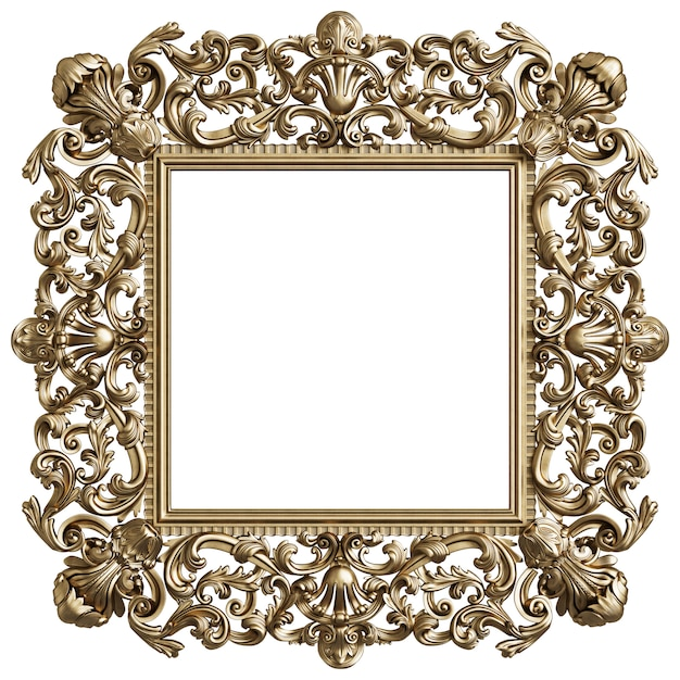 Classic golden square frame with ornament decor isolated on white background Premium Photo