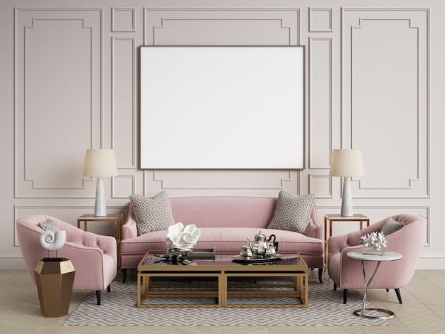 Classic interior. sofa, chairs, sidetables with lamps, table with decor. white walls with mouldings. floor parquet herringbone. 3d rendering Premium Photo