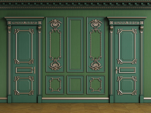 Classic interior with wooden boiserie with copy space Premium Photo