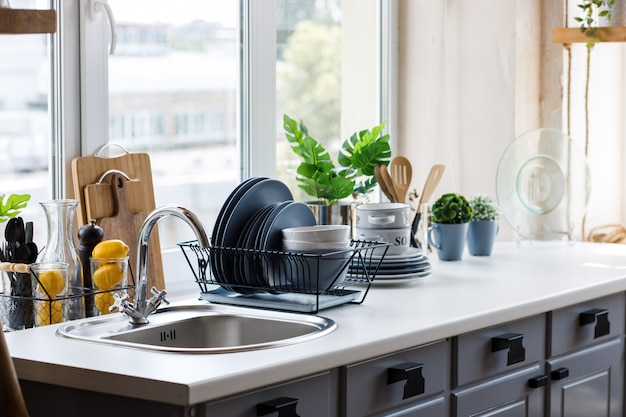 Classic kitchen with wooden and white details Premium Photo