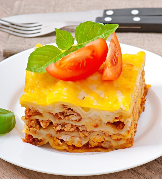 Classic lasagna with bolognese sauce Free Photo