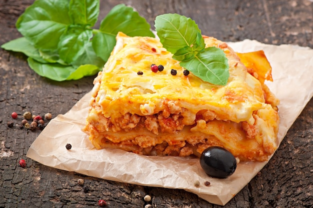 Classic lasagna with bolognese sauce Premium Photo