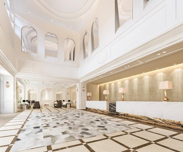 고전적인 고급 호텔 리셉션 홀 및 사무실 장식 선반 프리미엄 사진