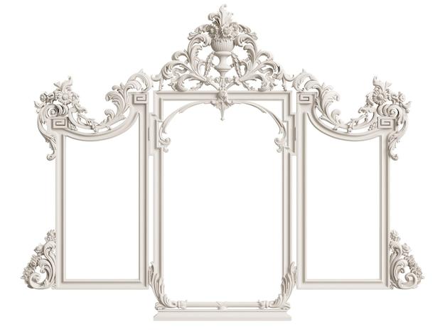 Classic mirror frame isolated. 3d rendering Premium Photo